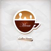Coffee shop menu. Coffee cup shape. Vector — Stock Vector
