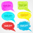 Hand drown set of speech bubbles — Stock Vector