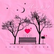 Romantic, valentine background with bench — Stock Vector