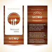 Restaurant menu design EPS 10. Wooden style — Stock Vector