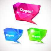 Diamond speech bubbles. Set of pink, blue, green bubbles — Stock Vector