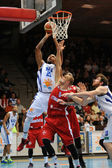 Kaposvar - Paks basketball game — Stock Photo