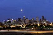 Denver Skyline at Night, Colorado — Stock Photo