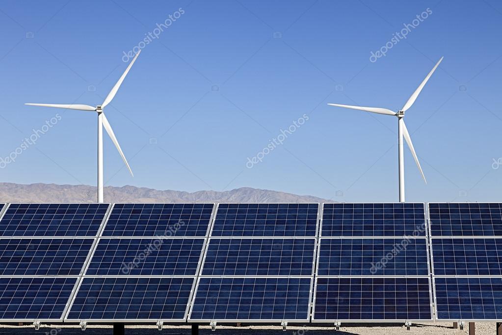 太阳能电池板和风力涡轮机发电
