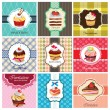 Stock Vector: Set of cake cards template