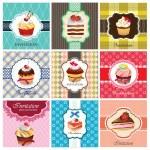 ケーキ カード テンプレートのセット — ストックベクタ