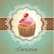 Vintage card with cupcake — Stock Vector #12632605