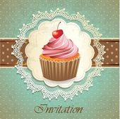 Vintage card with cupcake — Stok Vektör