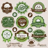Collection of eco and bio labels, badges and icons — Vecteur