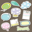 Cute speech bubbles scrapbook elements in vector — Stock Vector