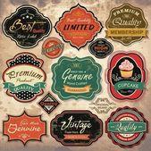 Collectie van vintage retro grunge etiketten, insignes en pictogrammen — Stockvector