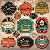 Collection of vintage retro grunge labels, badges and icons — Stok Vektör