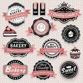 Kolekce vintage retro pekárna štítky, odznaky a ikon — Stock vektor