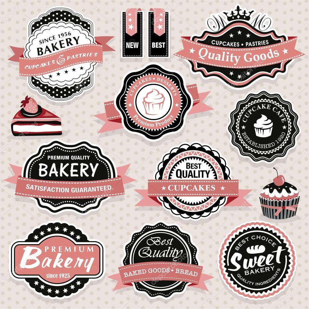Vintage Cake Logo Design : Collection of vintage retro bakery labels, badges and ...