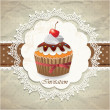 Vintage card with cupcake — Stock Vector #13320398
