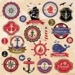 Collection of vintage retro nautical labels, badges and icons — Vettoriale Stock #13320416