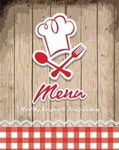 Illustration d'une image rétro vintage avec la conception de menus de restaurant — Vecteur