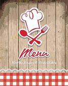Restoran menü tasarımı ile retro vintage çerçeve çizimi — Stok Vektör