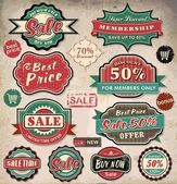 Collection of vintage retro grunge sale labels, badges and icons — ストックベクタ