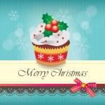 Christmas cupcake card — Stock Vector