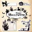 Collection of vector grunge halloween labels, stickers and icons - Stock Vector