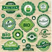Collection of vintage retro grunge bio and eco organic labels natural products — Vettoriale Stock