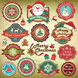 Collection of vintage retro grunge christmas labels, badges and icons — ストックベクタ