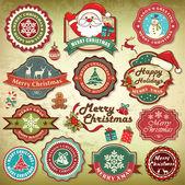 ビンテージ レトロなグランジ クリスマス ラベル、バッジ、アイコンのコレクション — ストックベクタ