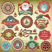 Collection of vintage retro grunge christmas labels, badges and icons — Vecteur