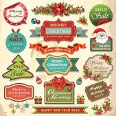 Collection of christmas ornaments and decorative elements, vintage frames, labels, stickers and ribbons — Stok Vektör