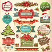 Noel süsler ve dekoratif öğeler, vintage çerçeveler, etiketler, çıkartmalar ve kurdeleler koleksiyonu — Stok Vektör