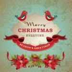 复古圣诞框架背景与鸟 — 图库矢量图片