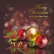 Stock vektor: Abstract christmas background with red & gold baubles