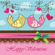 Valentine's day card with cute kissing birds — Stock Vector