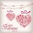 Valentine's day greeting hanging heart — Stock Vector