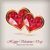 Valentine's day elegant diamond heart — Vector de stock
