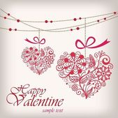 Valentine's day greeting hanging heart — Stock vektor