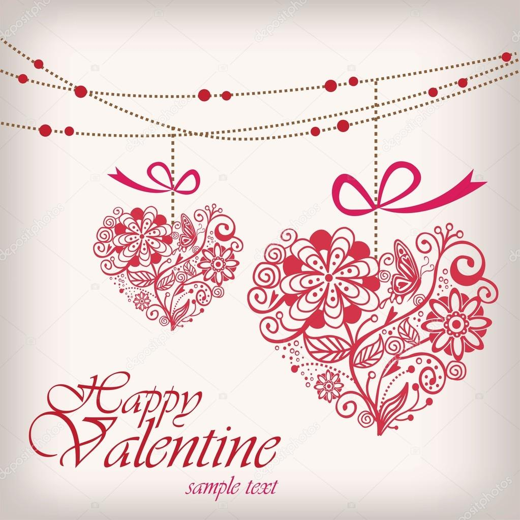 Valentine's day greeting hanging heart — Stock Vector #18437739