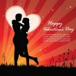 Valentine background with romantic silhouette — Stock vektor