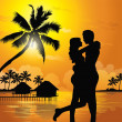 Romantic couple on the beach - Stock Vector