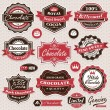 Collection of vintage retro Chocolate labels, badges and icons — Stock Vector