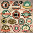 Stock Vector: Collection of vintage retro grunge car labels, badges and icons