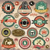 Collection of vintage retro grunge car labels, badges and icons — Stok Vektör