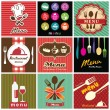 illustratie van vintage retro label met restaurant menu design collectie — Stockvector