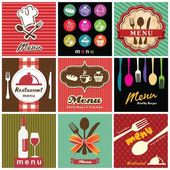 Illustration of vintage retro label with restaurant menu design collection — Stock Vector