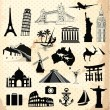 Stock Vector: Collection of world famous monument and travel elements