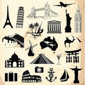 Collection of world famous monument and travel elements — Stock Vector