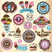 Collection of vintage retro ice cream labels, badges and icons — Stok Vektör
