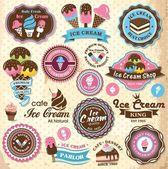 Raccolta di gelato retrò vintage etichette, scudetti e icone — Vettoriale Stock