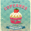Retro Cupcake-Poster-Vektor-illustration — Stockvektor